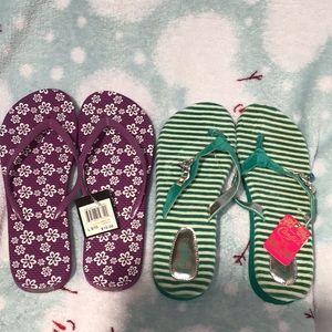 2 Pairs Size 9/10 Ladies Flip Flops